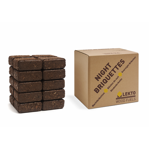 A stack of Lekto Night Briquettes next to their product box