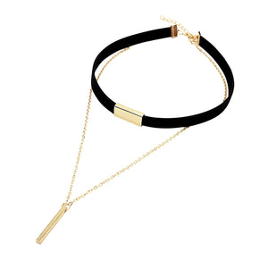 Black Suede Choker Chain Necklace with Pendant