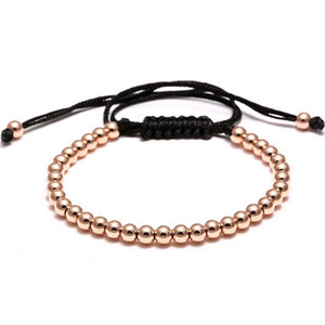 Macrame Braided 4mm Round Copper Beads Bracelet