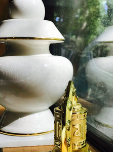 Pure White with 24K Golden Rings Vase