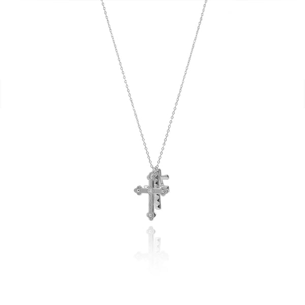 CROSSES SILVER NECKLACE