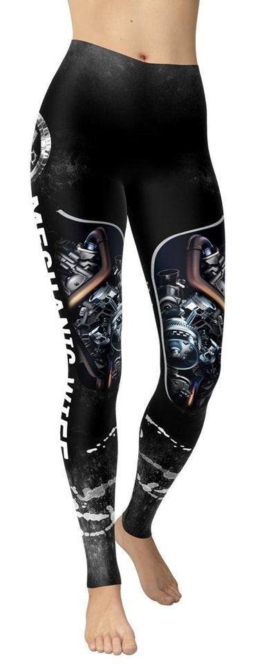 Mechanic Wife Black Leggings - NiftyLooks