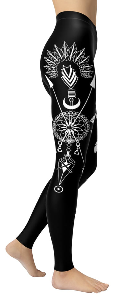 Native Pride Dreamcatcher Black Leggings - NiftyLooks
