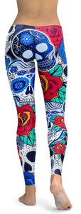 Vibrant Candy Skull Blue Leggings - NiftyLooks
