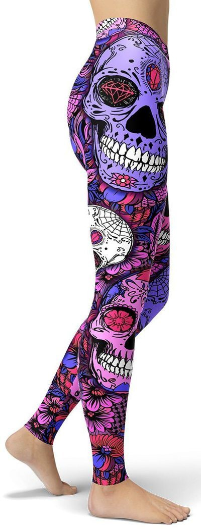 Purple Mystic Sugar Skull Leggings - NiftyLooks