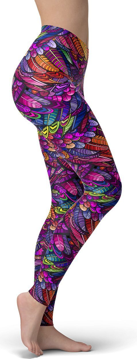Purple Seductive Feather Leggings - NiftyLooks