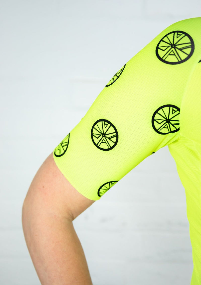 Neon Yellow 'STP 'Signature Logo' Women's Cycling Jersey - Stomp the Pedal