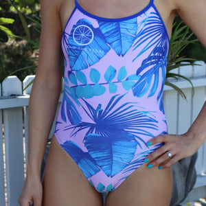 'Blush Palms' Single Strap one piece swimsuit