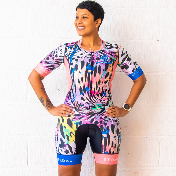 'Serengeti' Short Sleeve Aero Trisuit - Stomp the Pedal
