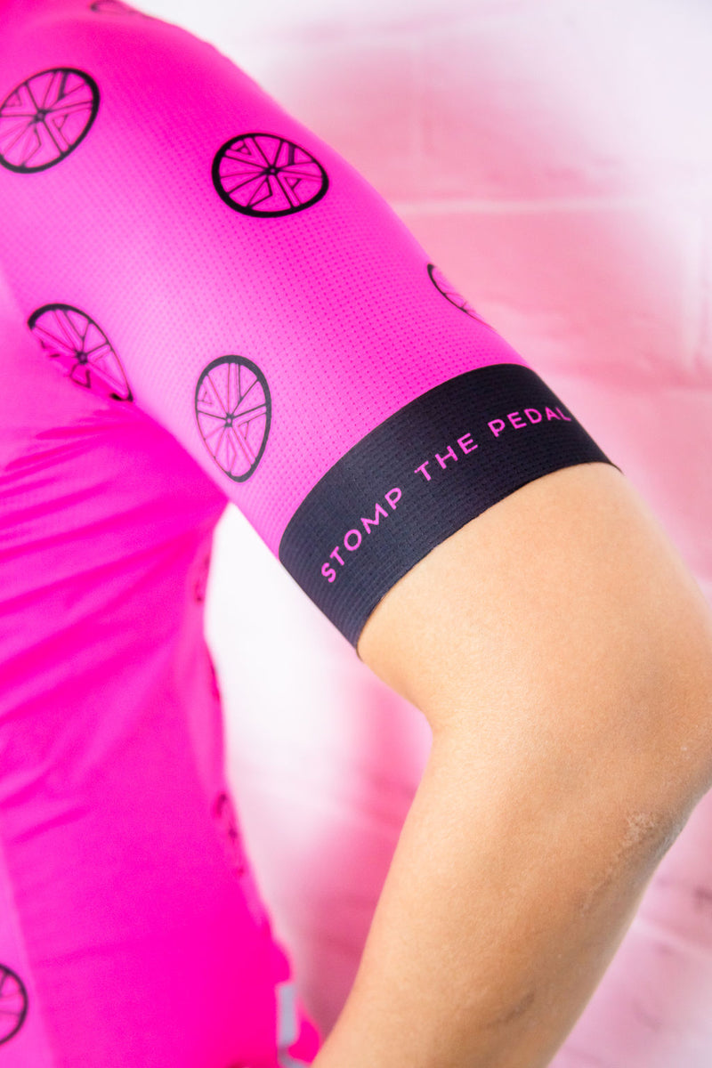 Neon Pink STP 'Signature Logo' Women's Cycling Jersey - Stomp the Pedal