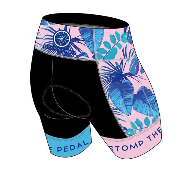 'Blush Palms' Tri Shorts - Stomp the Pedal