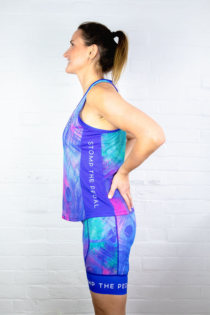 'Pretty Peacock' Racerback Singlet - Stomp the Pedal