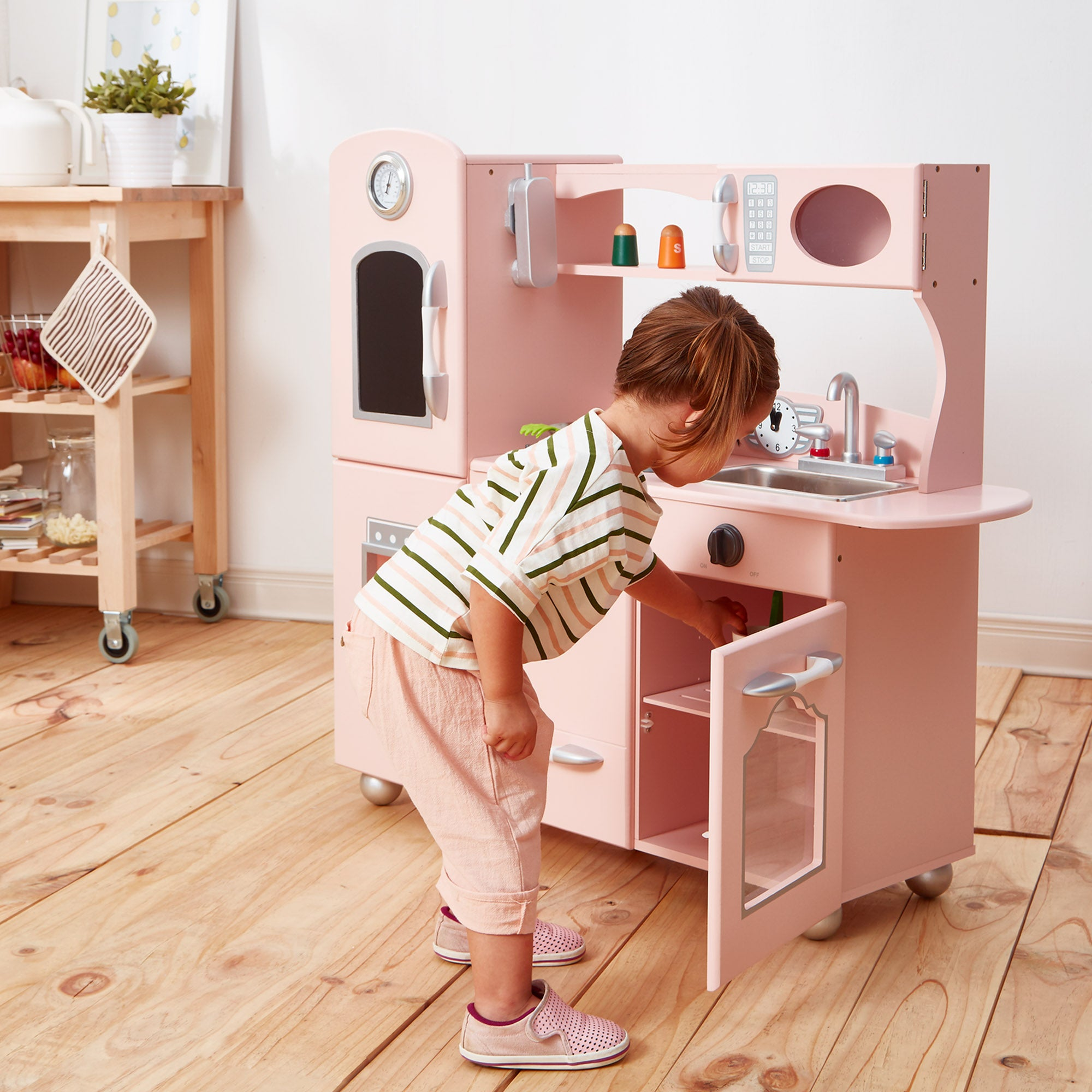 9e5676d3b2fbd SOLD OUT Teamson Kids Childrens Large Wooden Play Kitchen Pink Toy Cooker  Set TD