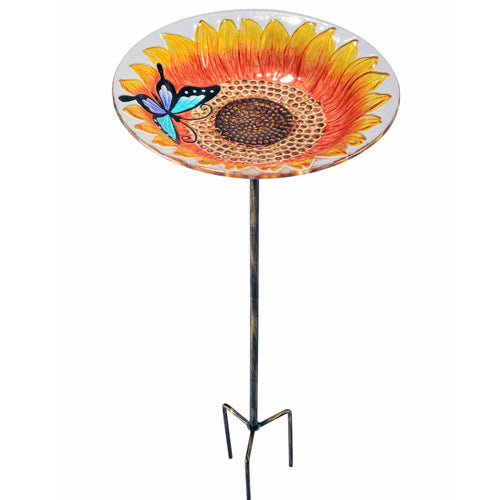Peaktop Outdoor Decor Garden Sunflower Glass Bird Feeding Feeder Stake 2202581