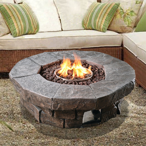 Peaktop Outdoor Garden Patio Heater Gas Fire Pit Burner Lava Rocks HF11802AA-UK