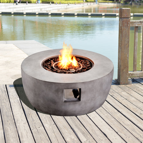 Peaktop Outdoor Garden Patio Heater Gas Fire Pit Burner Lava Rocks HF36501AA-UK