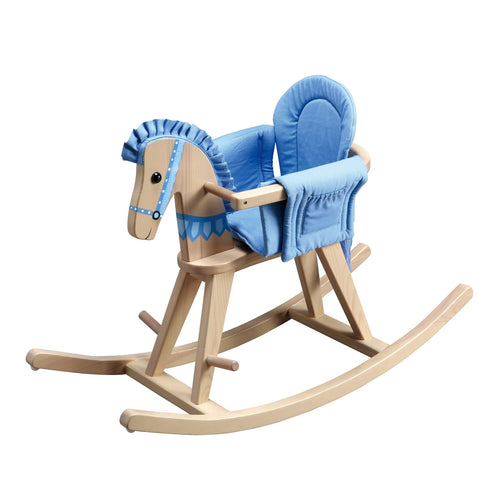Teamson Kids Safari Natural Rocking Horse W/Blue Pad