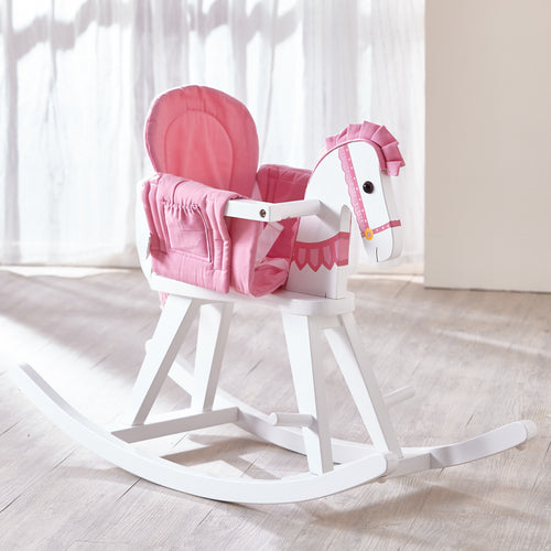 Teamson Kids Safari White Rocking Horse W/Pink Pad