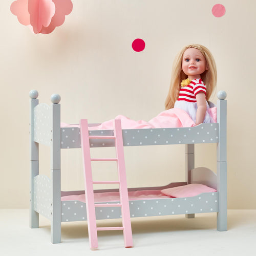 Olivia's Little World Baby Doll Furniture Polka Dots Double Bunk Bed by Teamson Kids