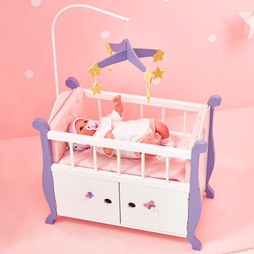 Olivia's Little World Baby Doll Furniture Baby Nursery Bed with Cabinet  by Teamson Kids