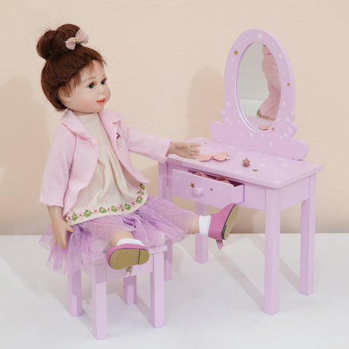 "Olivias Little World 18"" Baby Doll Furniture Vanity Table Stool Play TD-0207AP"