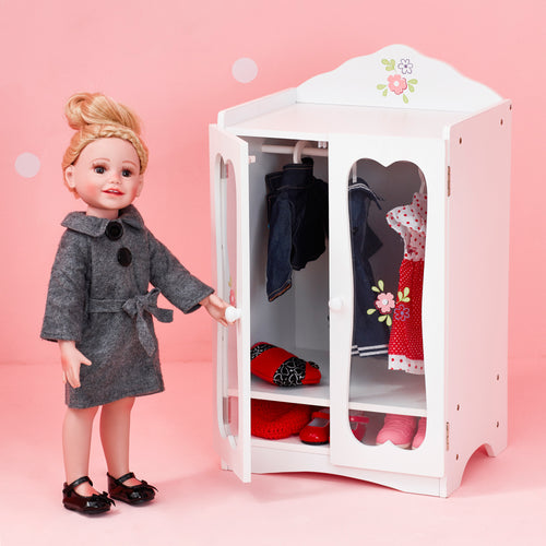 Olivia's Little World Baby Doll Furniture Classic Closet with Hangers by Teamson Kids