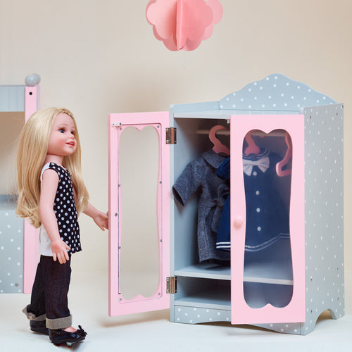 Olivia's Little World Baby Doll Furniture Polka Dots Classic Closet with Hangers by Teamson Kids