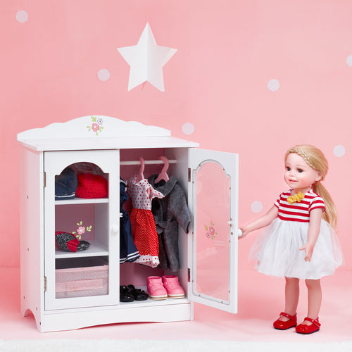 Olivia's Little World Baby Doll Furniture Fancy Closet with 3 hangers by Teamson Kids