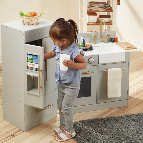 Teamson Kids Urban Adventure Play Kitchen With Ice Maker - Grey