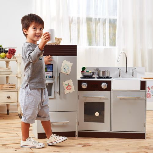 Teamson Kids Contemporary Modern Kitchen - Grey & Espresso