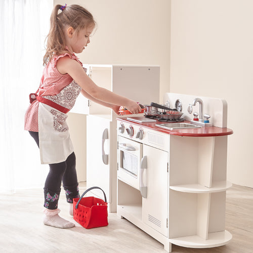Teamson Kids Classic Play Kitchen - White & Red (2 Piece)