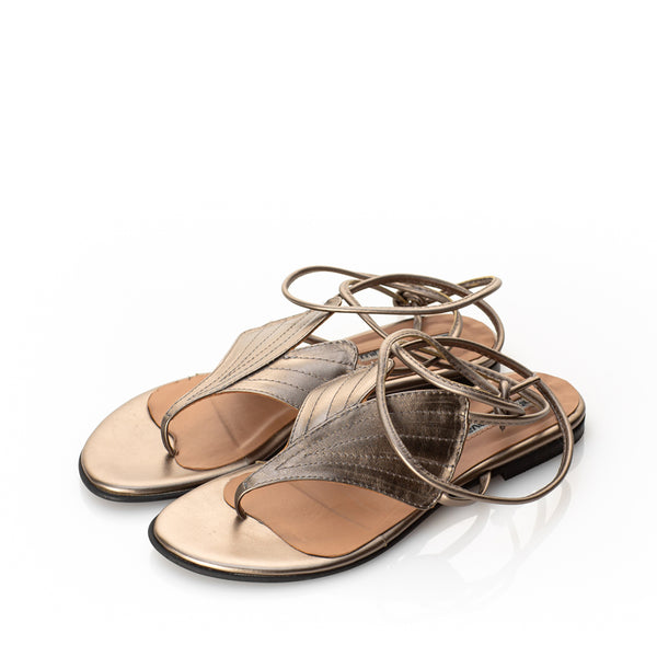 Leaves Anatomy- Bronze Flat Sandals
