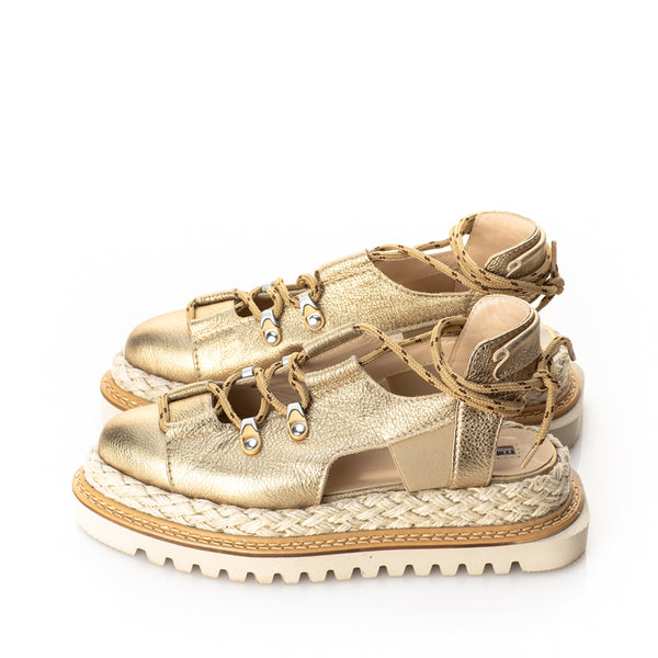 Summer Sense Gold Flat  Platform Shoes
