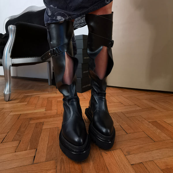 Sensual Cut-out Black Boots
