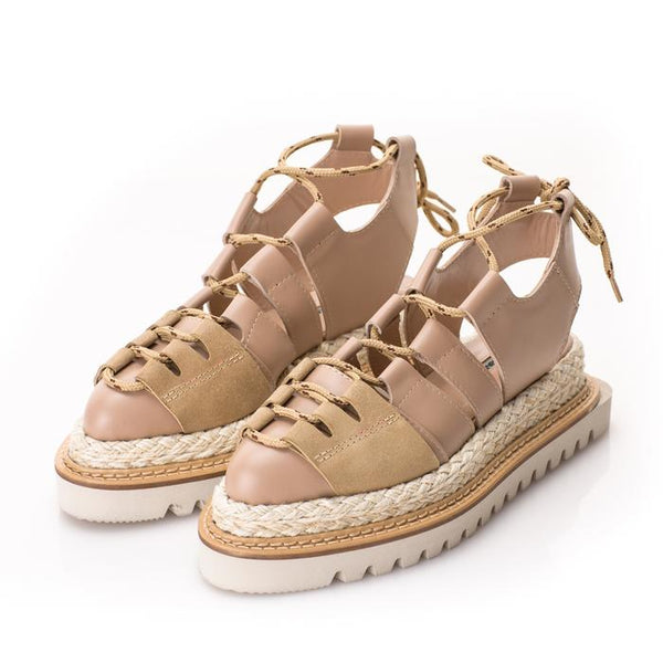 Beige leather flat platform shoes