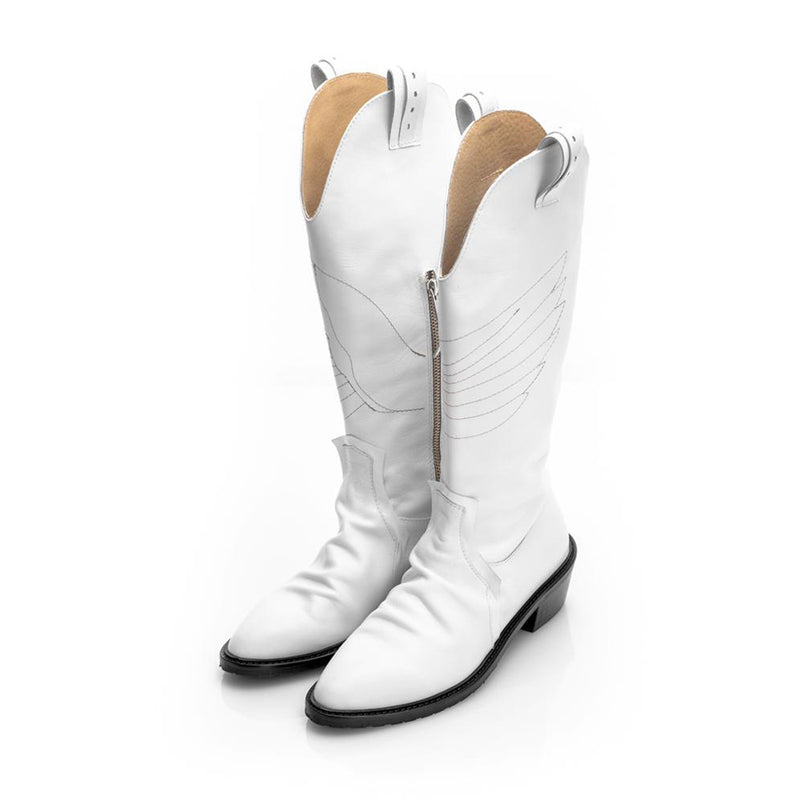 Urban Wings Ride White Pointed Boots