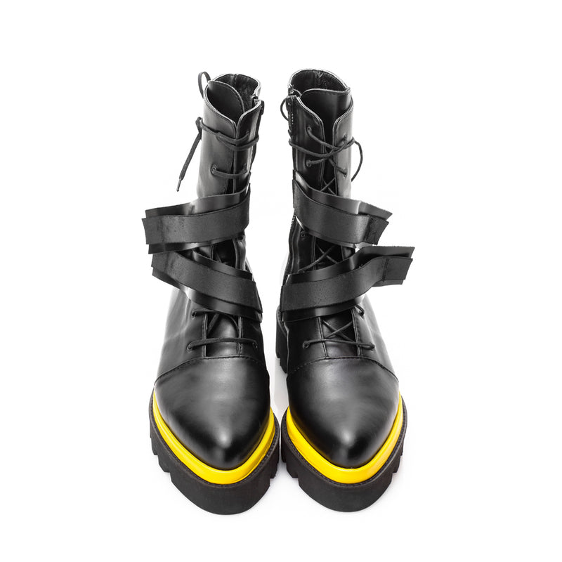 Yellow Touch lace up booties
