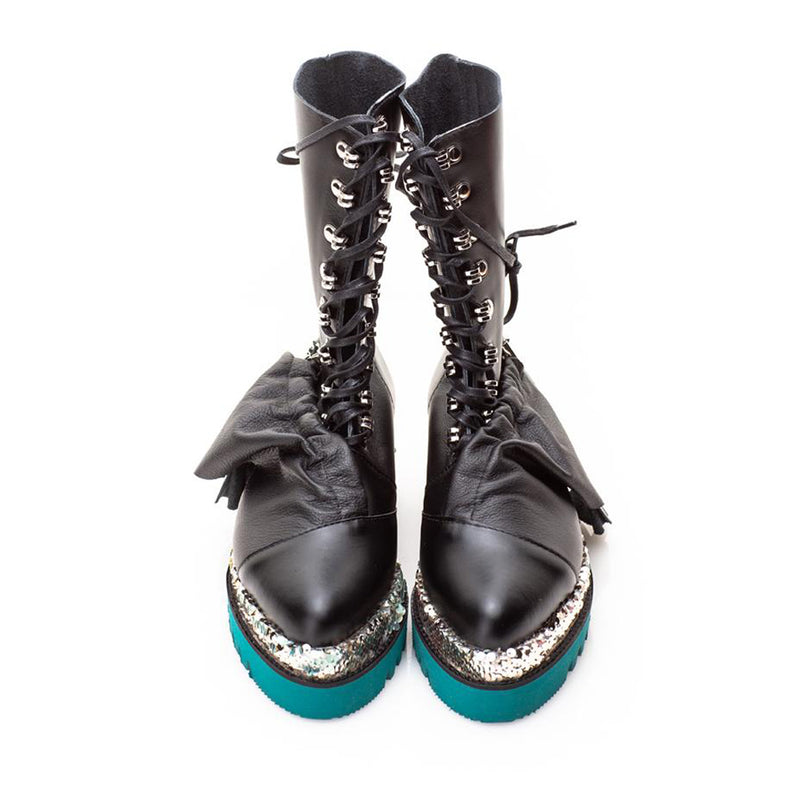 Loveable Ruffles Turquoise Sole Booties
