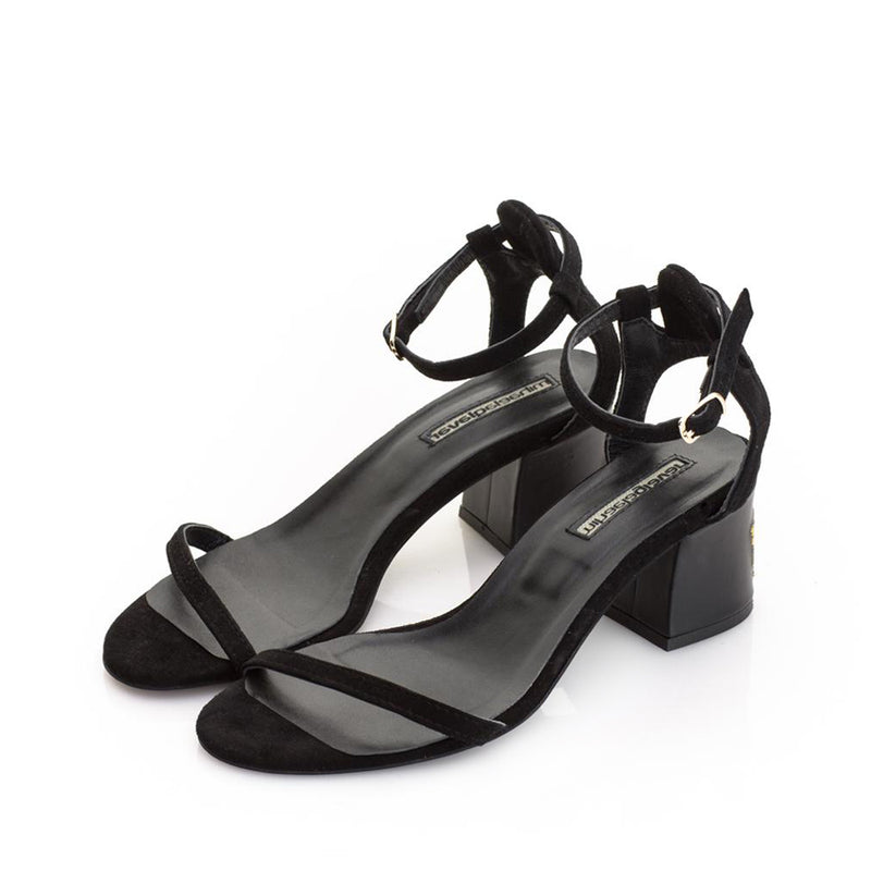Lily of the Valley Black Suede Sandals