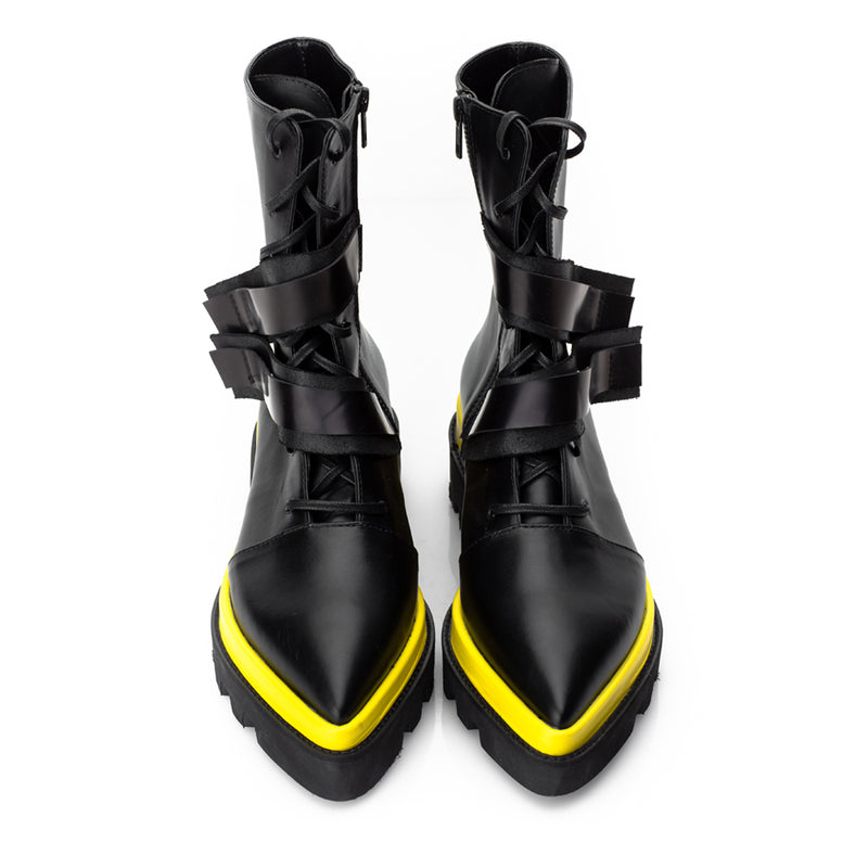 Sharp Yellow Touch Lace Up Booties