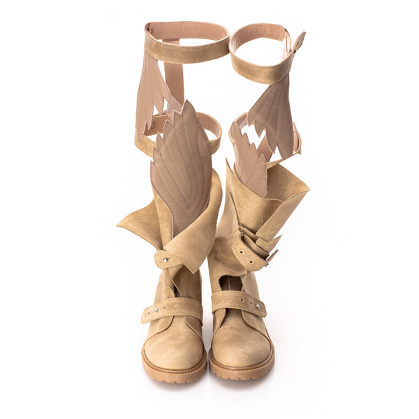 Fly with Me Gladiator Beige Boots