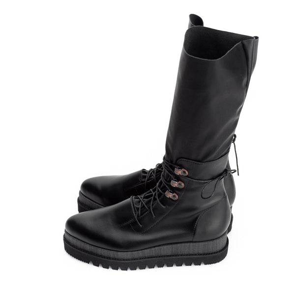 Urban Socks Lace Up Black Boots