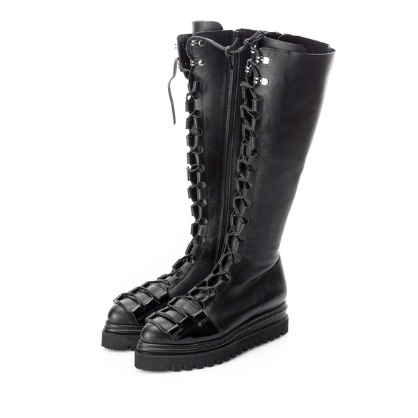 Glam Touch Black Zipper Boots