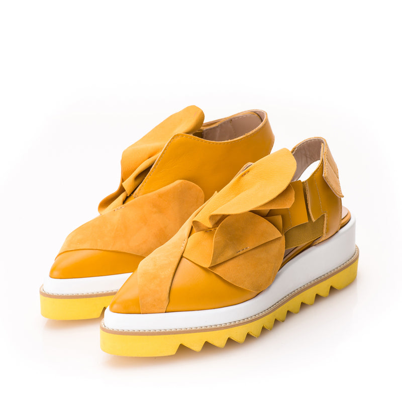 Tulips yellow open back shoes