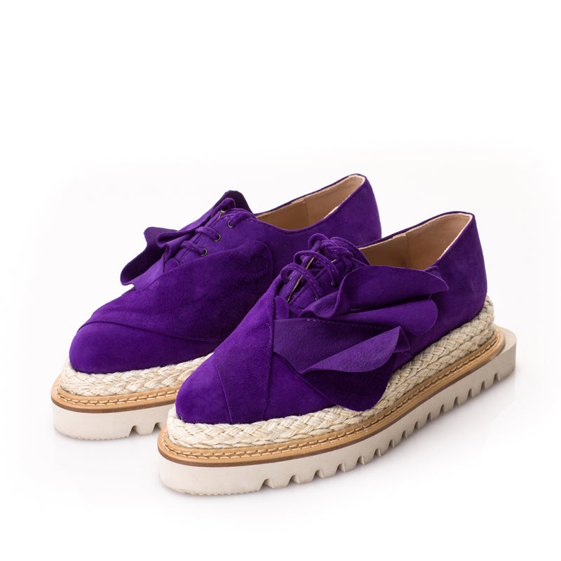 Purple tulips flat platform shoes