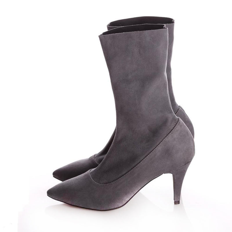 Simplicity Stretch Grey Suede Booties