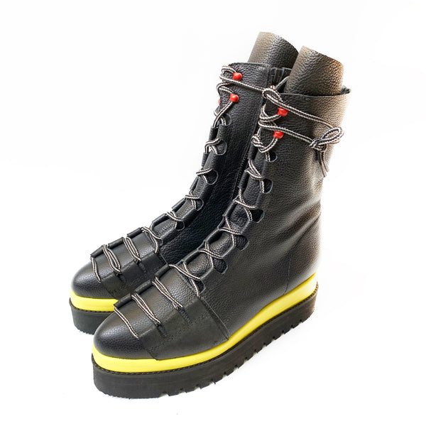 Black and Yellow Laces Affair Boots