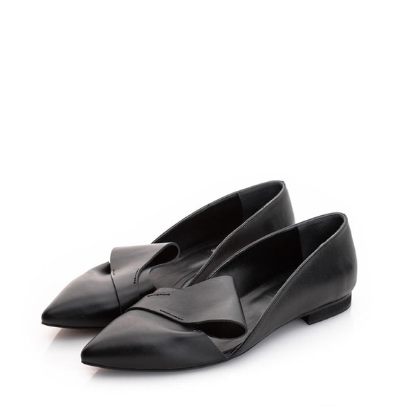Honest Bow Black Flats