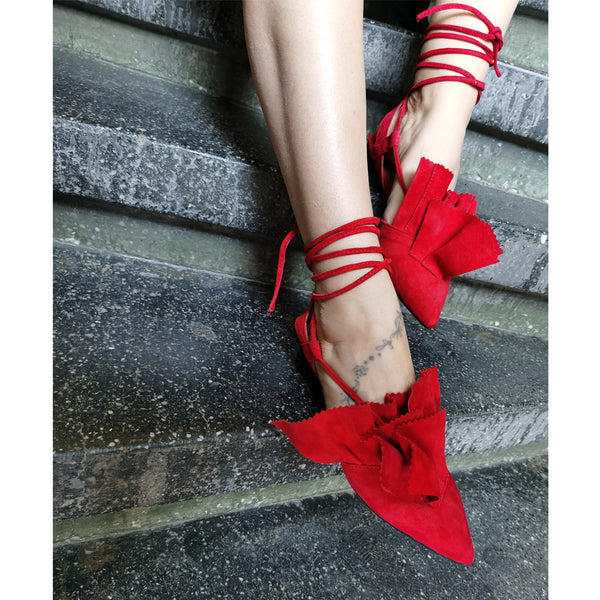 Lullaby red suede ballerinas