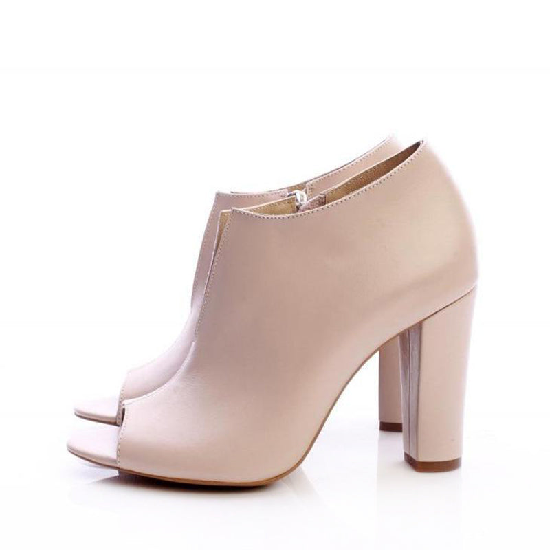 V-Cut Nude Booties